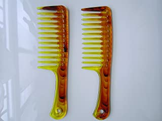Myhsmooth PLW-2 Big Wide Tooth Comb 2 Count Large Detangling Hair Brush Paddle Hair Comb Care Handgrip Comb Best Styling C...