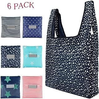 Goiio 6 Pack Folding Reusable Shopping Bag, Eco-friendly Nylon Foldable Grocery Tote