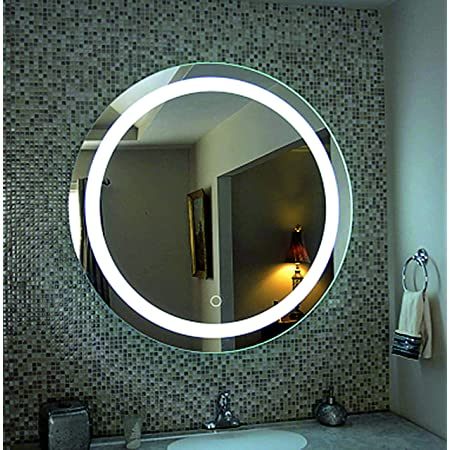KHUSHI AR10 Glass Round Frosting LED Mirror (White)
