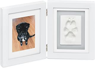 Better World Pets Paw Prints Keepsake Photo Frame Holds 4 x 6 inch Picture – Memorial Clay Imprint Kit – for Dogs and Cats – Perfect for Pet Lovers