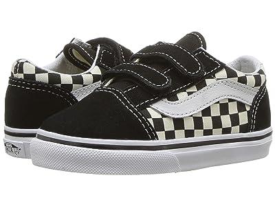 Vans Kids Old Skool V (Toddler) ((Primary Check) Black/White) Kid