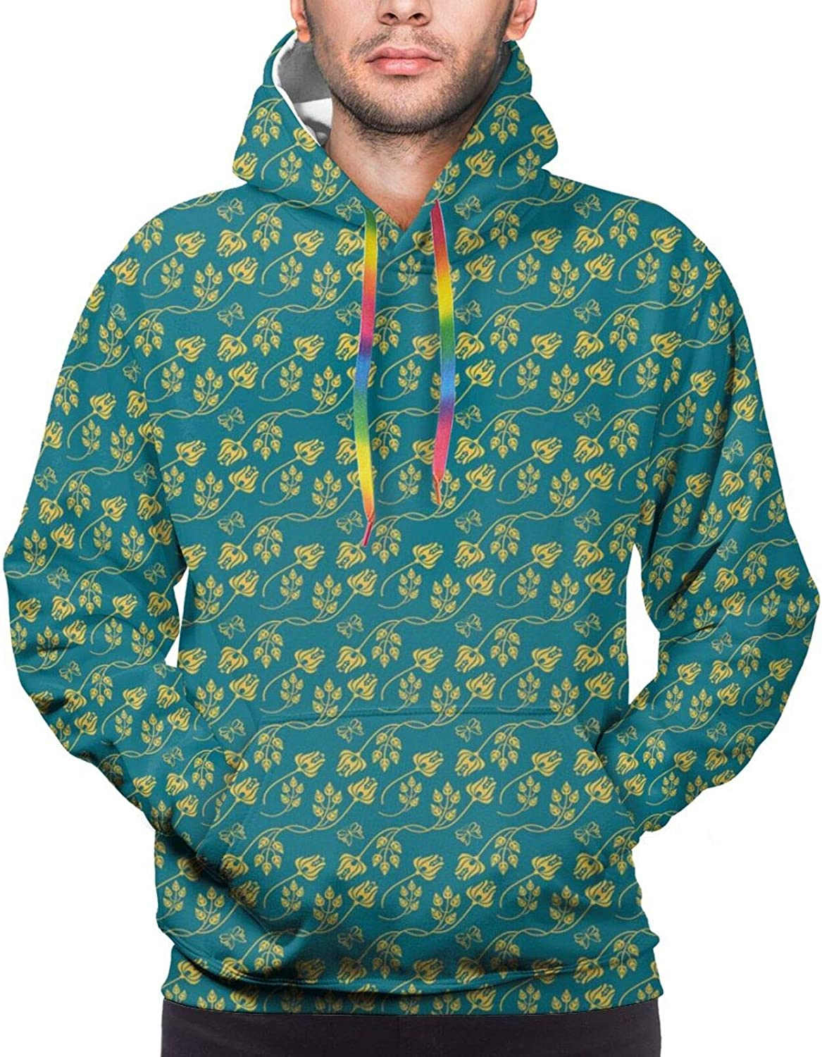 Men's Hoodies Sweatshirts,Oriental Inspired Damask with Abstract Tulip Petals and Leaves