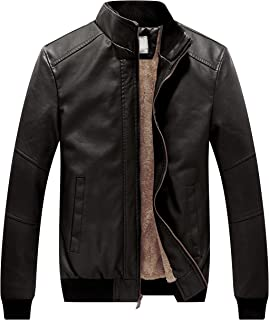 WenVen Men's Winter Warm Motorcycle Outerwear Vintage Fashion Faux Leather Jackets