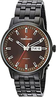 Tornado Men's Brown Dial Stainless Steel Band Watch - T8006-BBBD