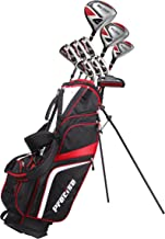 Precise SL500 Men's Complete Golf Set Includes Titanium Driver, S.S. Fairway, S.S. Hybrid, S.S. 6-PW Irons, Sand Wedge, Putter, Stand Bag, 3 Head Covers - Choose Size!