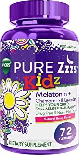 Vicks Pure Zzzs Kidz, Melatonin Sleep Aid Gummies for Kids and Children, Lavender, Valerian Root and Chamomile, Natural Be...