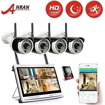 ANRAN 防犯カメラセット 監視カメラ4台 モニター付き ワイヤレス WiFi 無線 200万画素 HD高画質 防水防塵 ハイビジョン 遠隔監視 モーション感知 屋外型 CCTVセキュリティカメラシステム(2TBハードディスク内蔵) 国内日本人スタッフ駐在