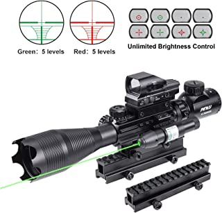 Pinty Rifle Scope 4-16X50 Illuminated Optics Sight Green Laser, Reflex Holographic Dot Sight, Riser Mount 14 Slots 1 inch High Riser Mount