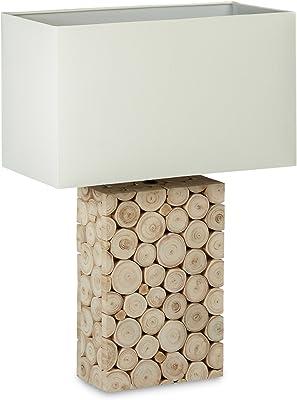Relaxdays 10020072_458 Lampe de Table en Bois Mosaïque - Lampe de Chevet Liseuse Branche Rondelles Abat-Jour en Tissu Coton Design Rustique 55 x 40 x 20 cm Blanc