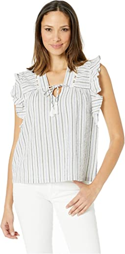 Short Sleeve Yarn-Dye Stripe Tie Top