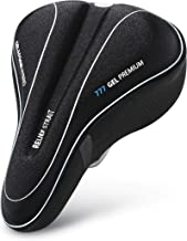 UShake Bike Gel Seat Cushion Cover, Bicycle Saddle Seat Cover for Mountain Bike Stationary Exercise Bike, Outdoor or Indoor Cycling