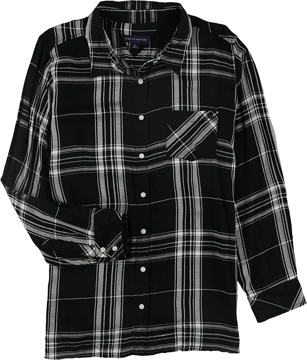 Tommy Hilfiger Womens Roll-Tab Button Down Blouse
