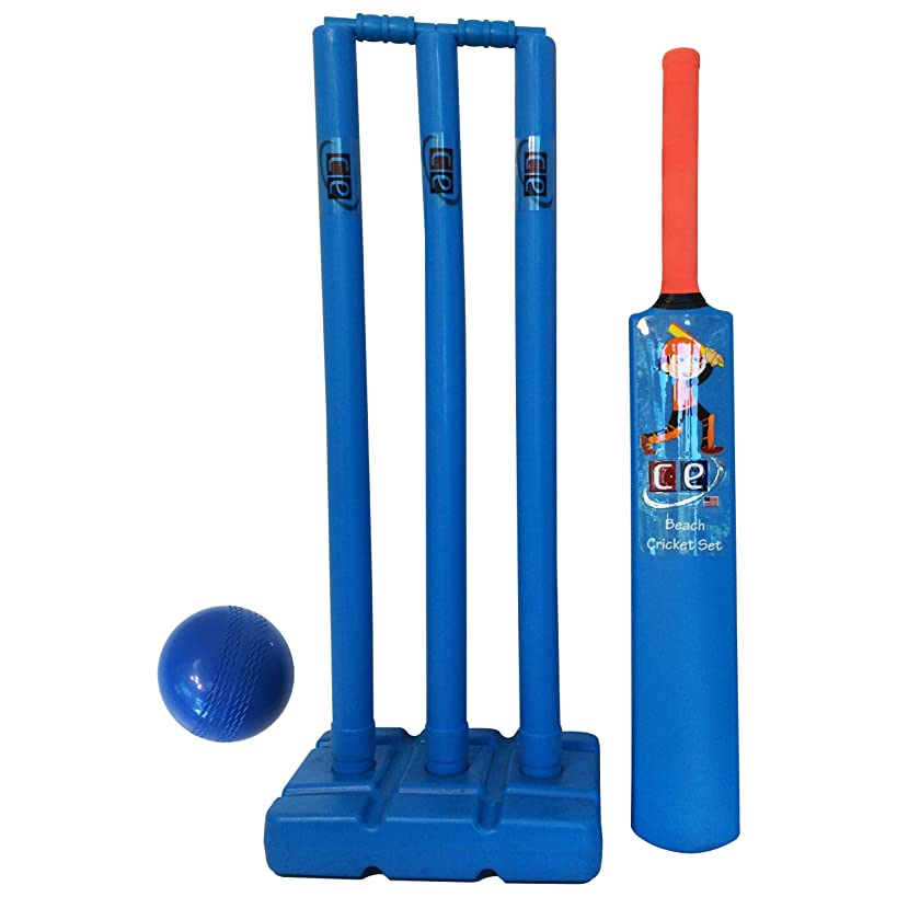 CE Cricket Equipment USA Beach Cricket Set for Kids Plastic Water Proof Contents Bat, Ball, Stumps, Bail and Carrying Bag, Kids Size 6