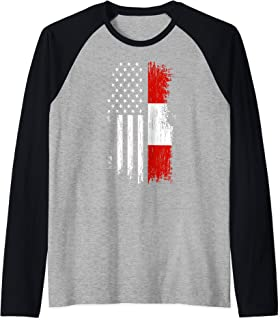 Austrian American Flag T Shirt - Pride Austria USA Tees Raglan Baseball Tee