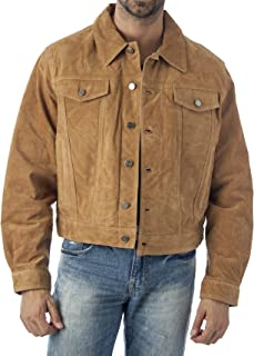 REED Men's Western Jean Style Suede Leather Shirt Jacket