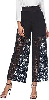 WorClub Pantaloni Cropped a Gamba Larga da Donna Pantaloni Casual Etnici Stampati Floreali Pantaloni da Spiaggia