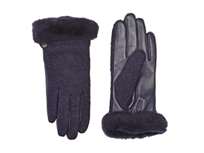 UGG Fabric Leather Shorty Tech Gloves with Sherpa Lining (Nightshade) Extreme Cold Weather Gloves