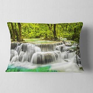 Designart Erawan Waterfall View' Photography Throw Lumbar Cushion Pillow Cover for Living Room, sofa 12 in. x 20 in