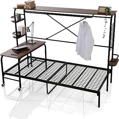 LOWYA ベッド 人をダメにするベッド ベッドフレーム シングル 宮棚付き ブラック/ウォルナット