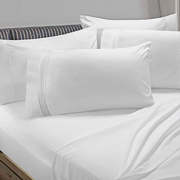 Clara Clark Premier 1800 Collection 6pc Bed Sheet Set With Extra Pillowcases King White