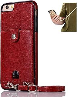 Jaorty Schutzhülle aus PU Leder für iPhone 6 Plus/6S Plus, Umhängeband mit Kartenhalter, verstellbarer, abnehmbarer Anti Verlust Umhängeband für Apple iPhone 6 Plus, iPhone 6S Plus, Rot