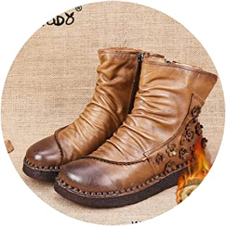Nice Style Boots Handmade Ankle Boots Flat Boots Genuine Women Shoes Alta Calidad Toallita
