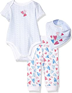Baby Girl's 3 Piece Bandana Bib Pant Set Pants