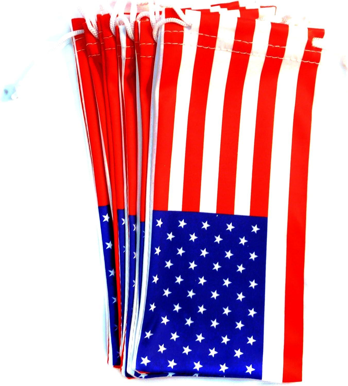 6 PC Eyewear Eyeglass Microfiber Soft Cloth Bag Pouch Case AMERICAN FLAG