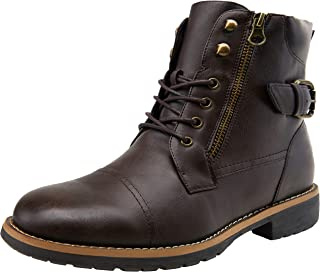 VOSTEY Men's Casual Combat Boots Motorcycle Chukka Oxfords Ankle Dress Boots