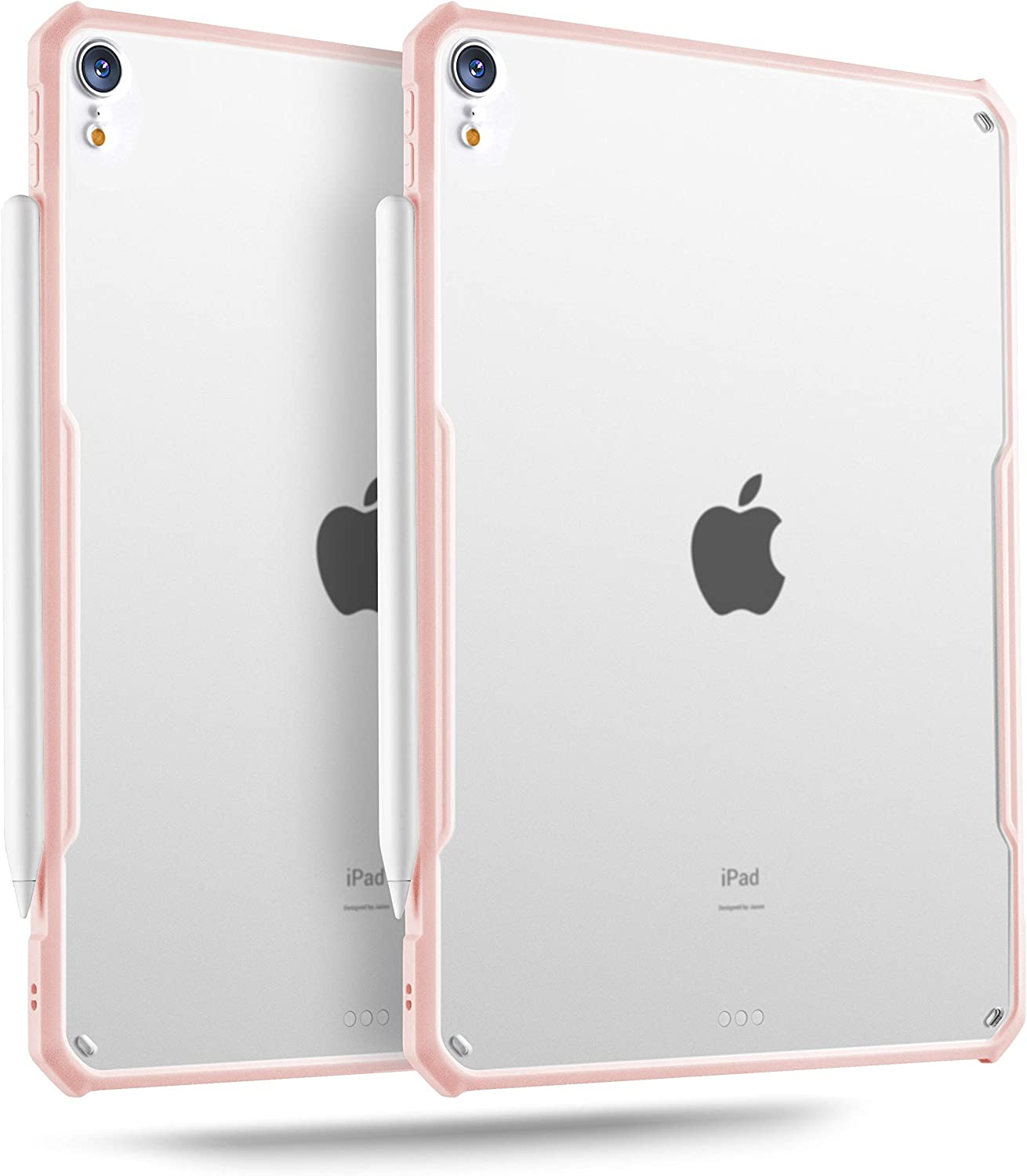 TineeOwl iPad Air 4 Case 10.9 inch 2020, Ultra Thin Matte Clear Case, Supports Apple Pencil Charging and Touch ID, TPU Bumper (Pink/Matte Back)