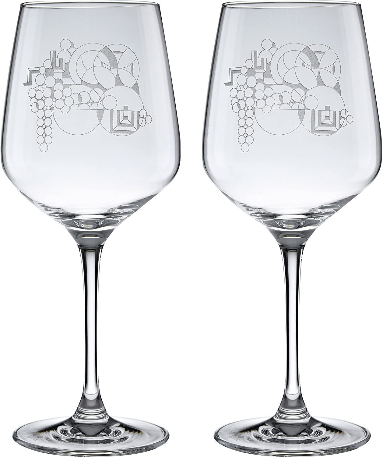 Frank Lloyd Wright May Basket Deep Etched Wine Glass 17.25-Ounce Set of 2