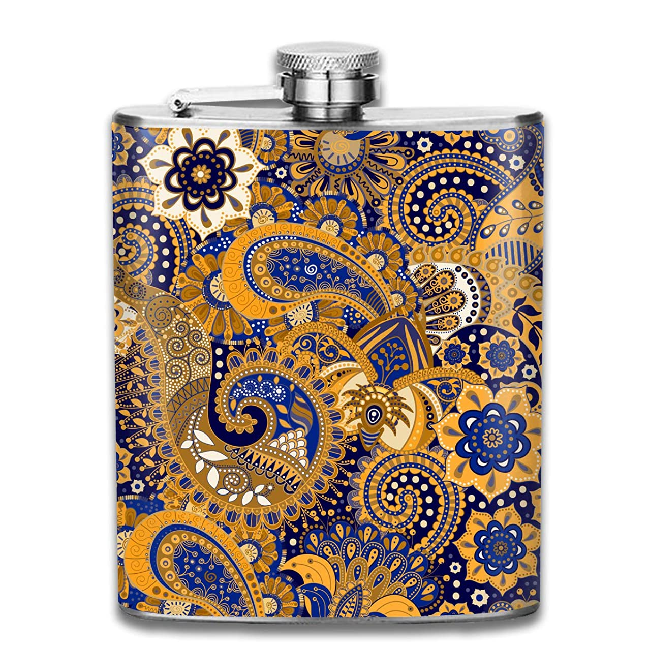 TPSXXY Yellow Blue Floral Pattern Stainless Steel 7 Oz Hip Flask Men Women Silver Alcohol Whiskey Liquor