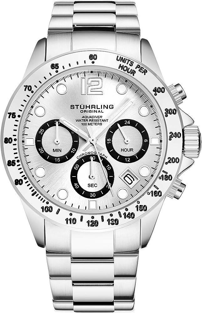 Stührling original orologio cronografo da uomo, in acciaio inox 3961.1