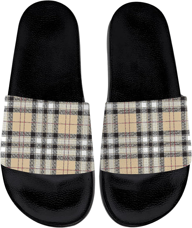 Plaid Sandals Womens Mens Slide Sandals Comfort Single Band Flat Slippers Indoor Outdoor Summer Sport Shoes Gifts for Women Men