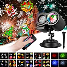 Water Wave Christmas Projector Lights Indoor Outdoor Xmas Theme Light Projector 2-in-1 Moving Patterns Ocean Wave LED Landscape Waterproof Wedding Bedroom Yard Garden Party Decorations