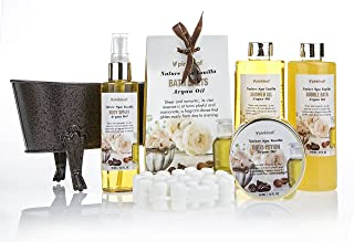 Spa Gift Basket Refreshing Fragrance Enriched with Natural Argan Oil, Perfect Wedding, Birthday or Anniversary Gift, Bath gift Set Includes 8pc Spa Set Women Gift (Vanilla Argan Oil)