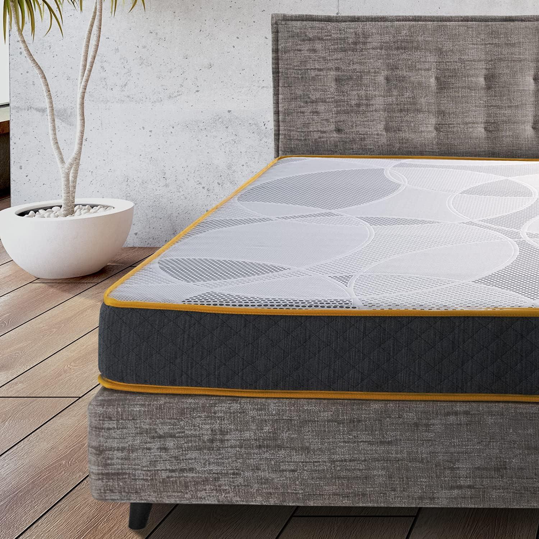 Comfy Line – Colchón individual 90 x 190 cm de espuma viscoelástica 21 cm de altura 7 zonas diferenciadas ortopédico. Revestimiento de algodón fresco y transpirable. Fabricado en Italia 100%
