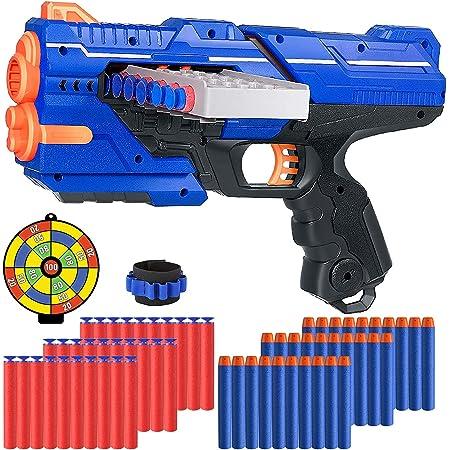 Pistole Giocattolo per Nerf Dardi, Pistole Giocattolo con 60 Dardi, Polsino e Bersaglio per Nerf Pistole, Pistola Blaster Regalo di Compleanno di Natale per Bambini di 6-12 Anni
