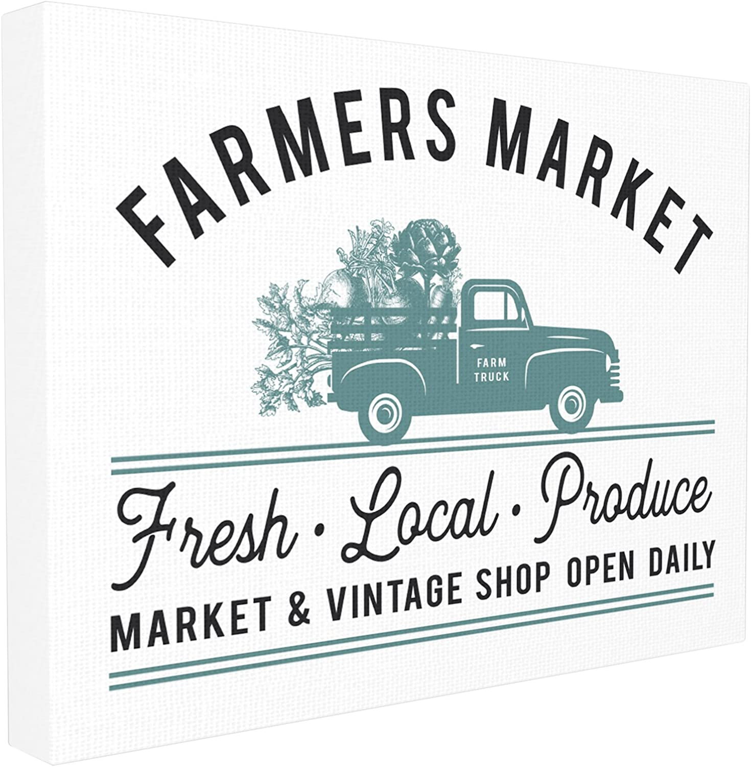 Stupell Industries Farmer's Market Icon Vintage Sign Stretched Canvas Wall Art, Proudly Made in USA