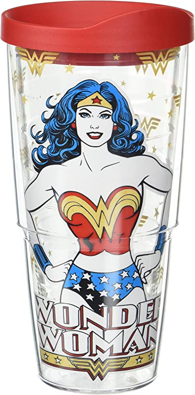 Tervis 1288126 DC Comics Woman Wonder Mom Insulated Tumbler With Wrap And Red Lid 24 Oz Tritan Clear