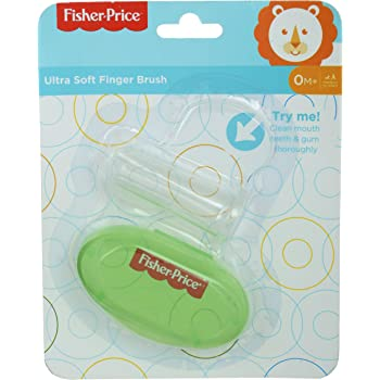 Fisher-Price Silicone Baby Finger-Brush with Case, Green