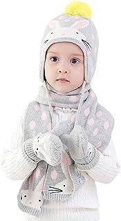 Niñas gorro bufanda Guantes de punto 3pzs Conjunto Invierno 6 meses a 8 años Bebé Sombrero gorra Pom-Pom pañuelo manoplas cálido Conejito Polca Puntos Gris