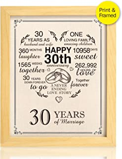 Ihopes Framed 30th Anniversary Heart Burlap Print Decorations, 30 Years Wedding for Men, for Women, for Couple, 8x10inch