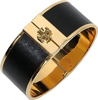 Tory Burch Skinny Leather Inlay Cuff Metal Bracelet TB Logo (Black 1'')