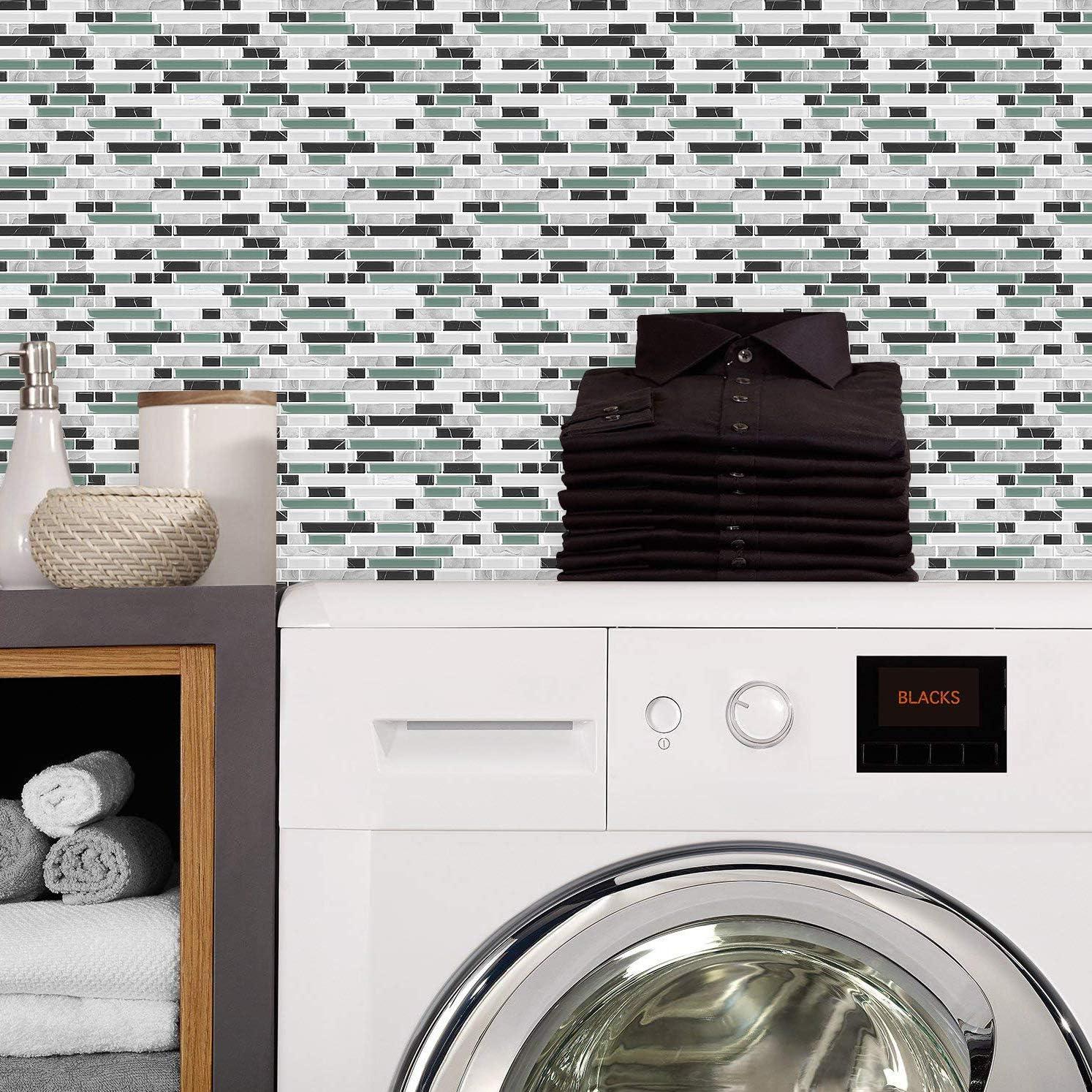 10 Sheets, 10X10 Peel and Stick Backsplash Self-Adhesive Backsplash Tile for Kitchen in Seagreen