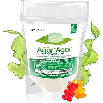 Agar Agar Powder 4oz : Gelatin Substitute, Vegan, Unflavored, Gummy bears, Cheese, Vegetarian, Gluten-free, Non-GMO, Sugar-free Kosher, Halal, Desserts, Thickener |LIVING JIN