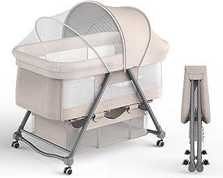 UBRAVOO ベビーベッド ベビーラック 折りたたみ 組み立て不要 キャスタ付き ゆりかご 収納便利 調整可能 通気 洗濯可能 新生児0ヶ月~ 日本語説明書付き 12ヶ月品質保証 93*55*77cm (ベージュ)