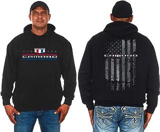 JH DESIGN GROUP Mens Chevy Camaro Hoodie Distressed American Flag 2-Sided Sweatshirt