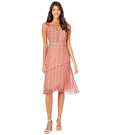 Sam Edelman Ditsy Feather A-Line Dress (Coral Punch) Women