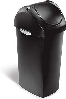simplehuman 60 Liter / 16 Gallon Swing Lid Rubbish Bin, Black Plastic